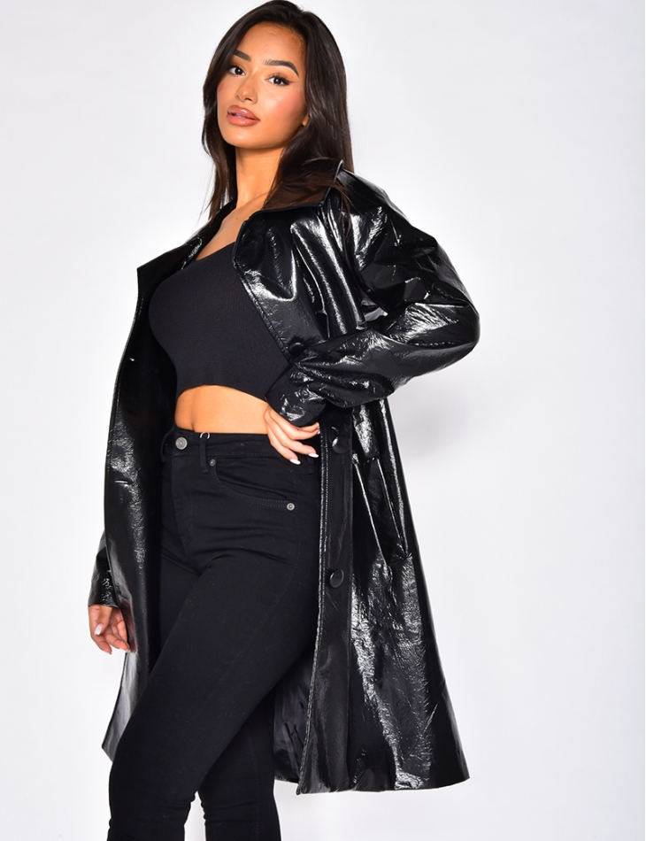 Manteau en vinyle mi-long