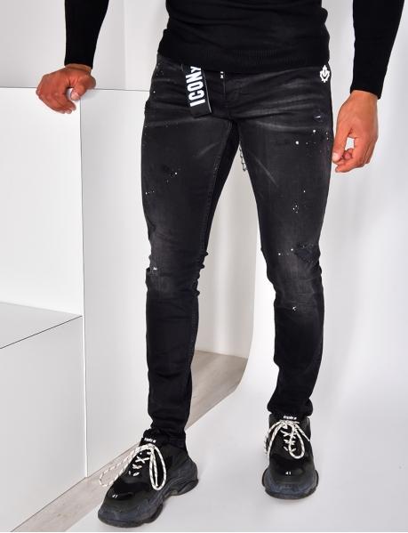 Jeans destroy à tâches et feuille d'érable