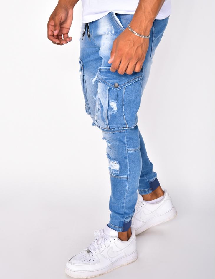 Jeans cargo destroy à poches