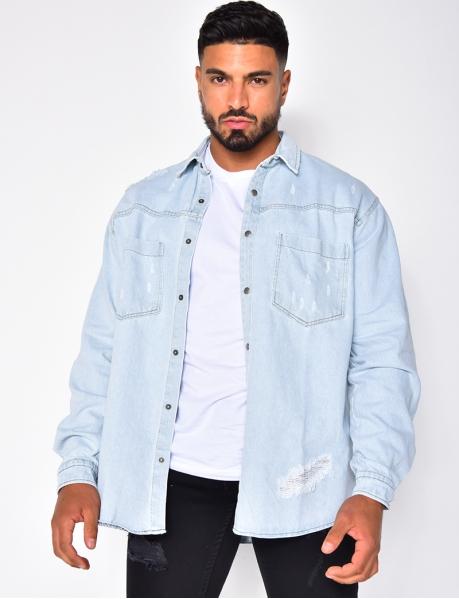 Chemise manches longues en jeans
