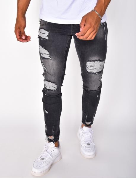Jeans destroy avec chaînette