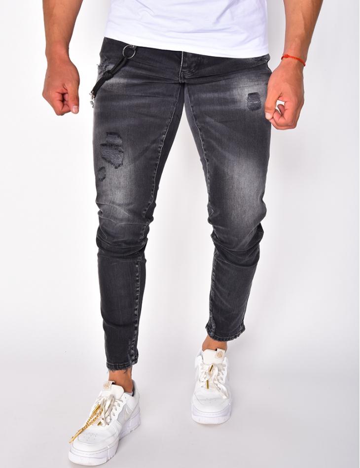 Jeans destroy à chaînes