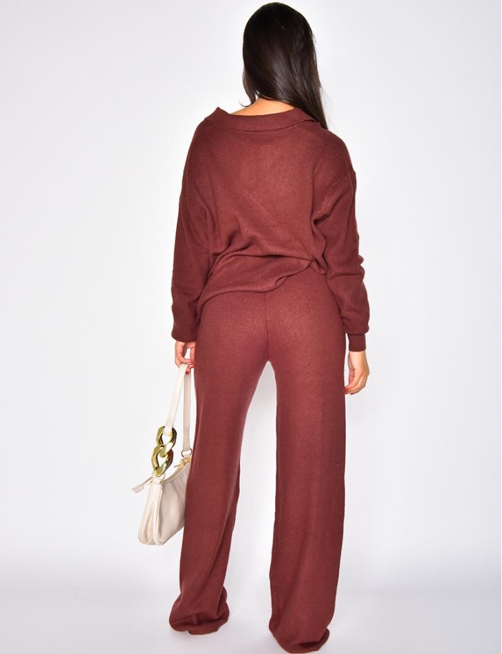 Ensemble pantalon large et pull col V