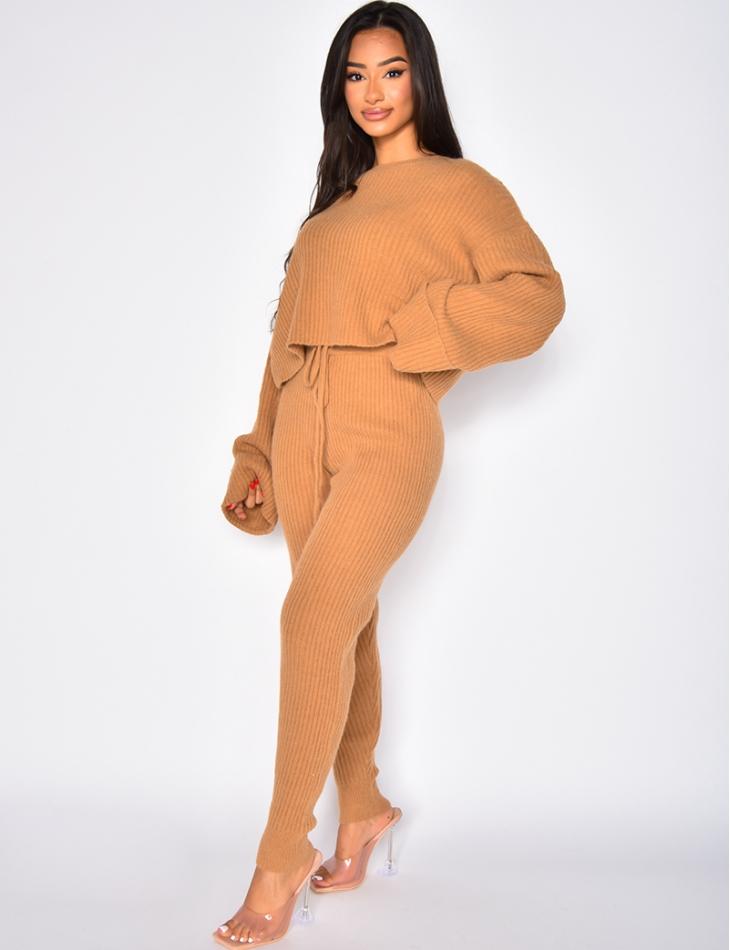 Ensemble pantalon & pul oversize côtelé