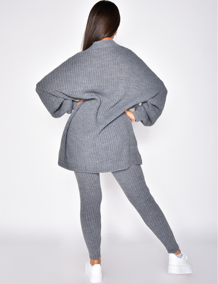 Ensemble gilet long et pantalon en laine