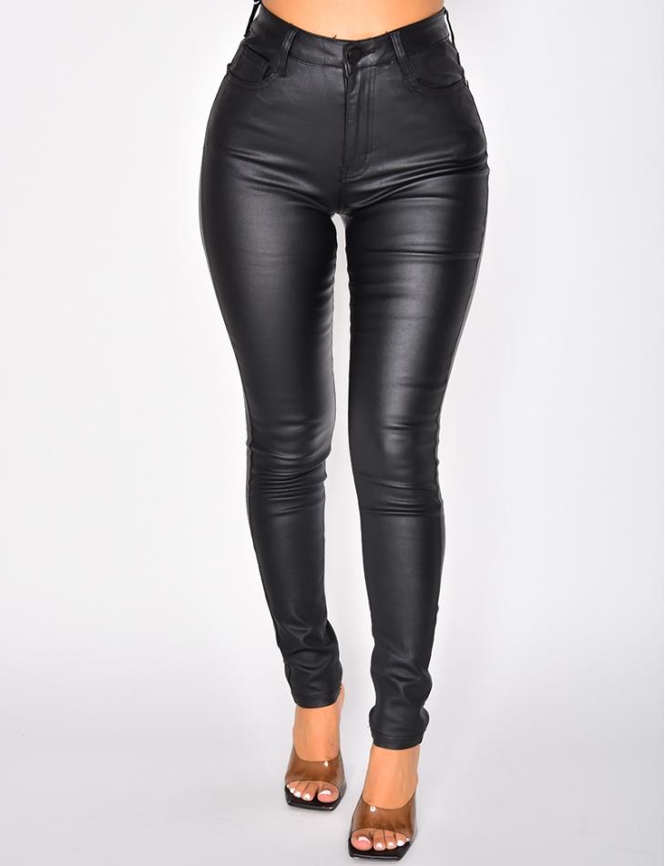 Jeans slim huilé taille haute