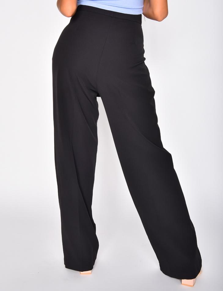 Pantalon à pinces coupe droite