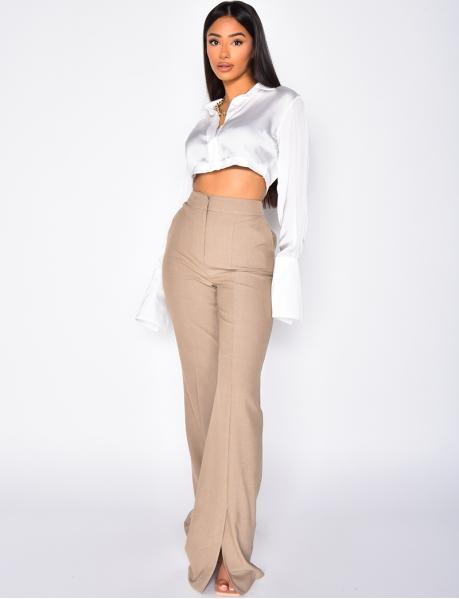 Pantalon de tailleur coupe droite à fente