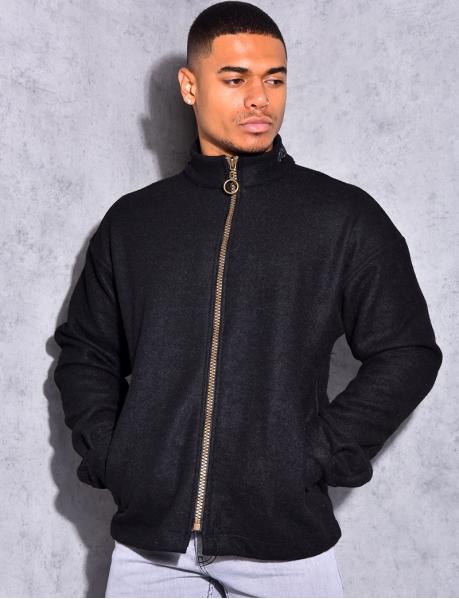 Gilet à zip en tweed