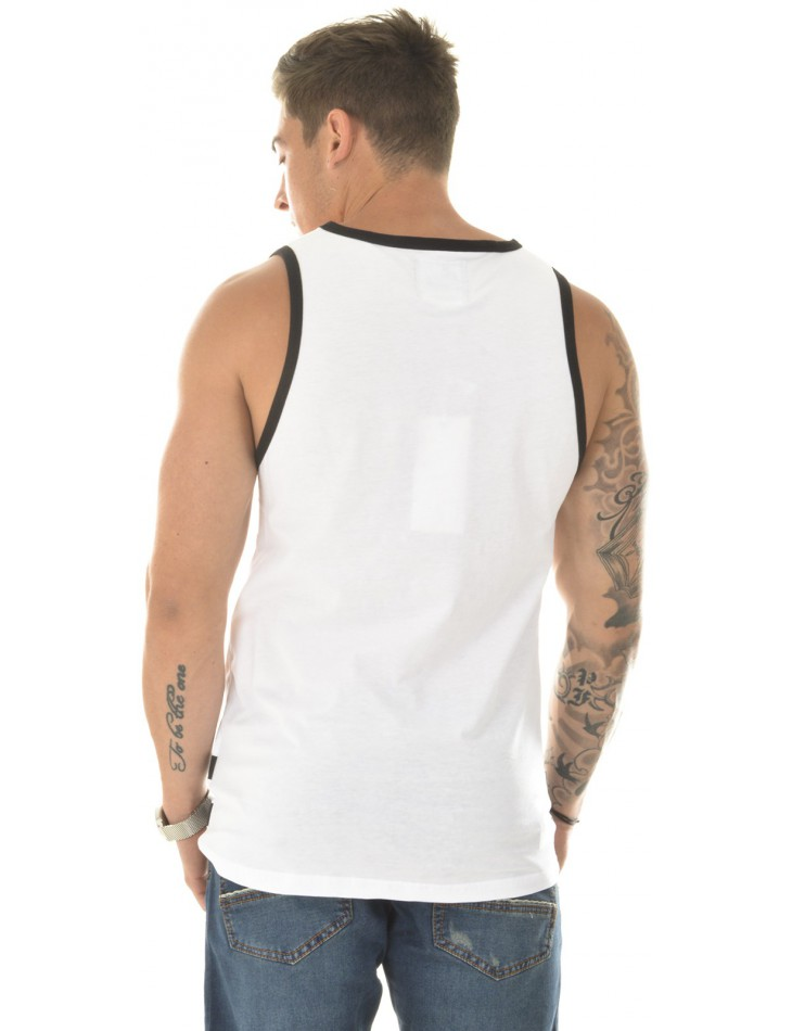 White Oversized Vest Top with Mesh Insert By Studio