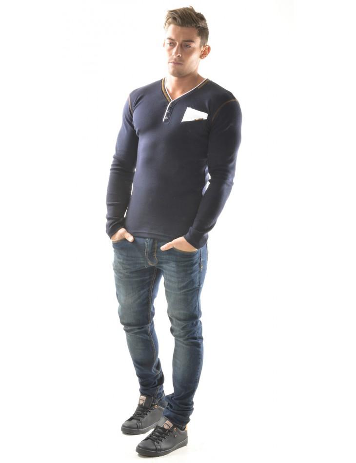 T-shirt homme à poche contrastant