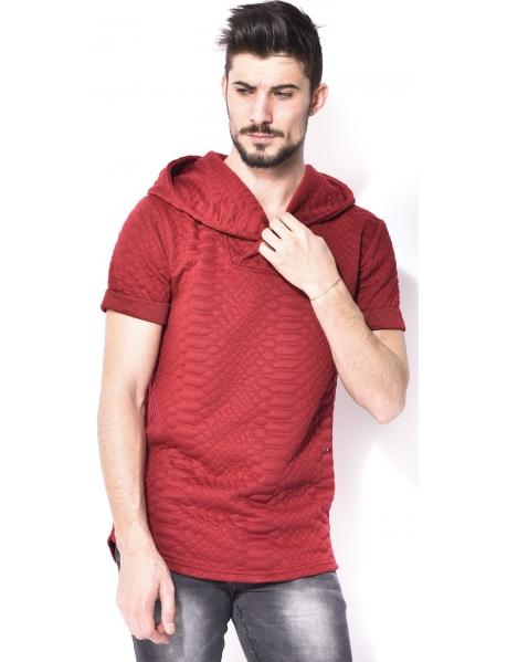 T-shirt homme relief à capuche