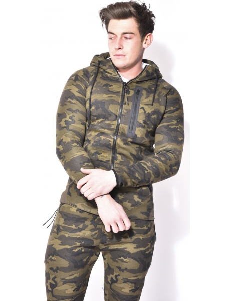 Sweat à capuche camo