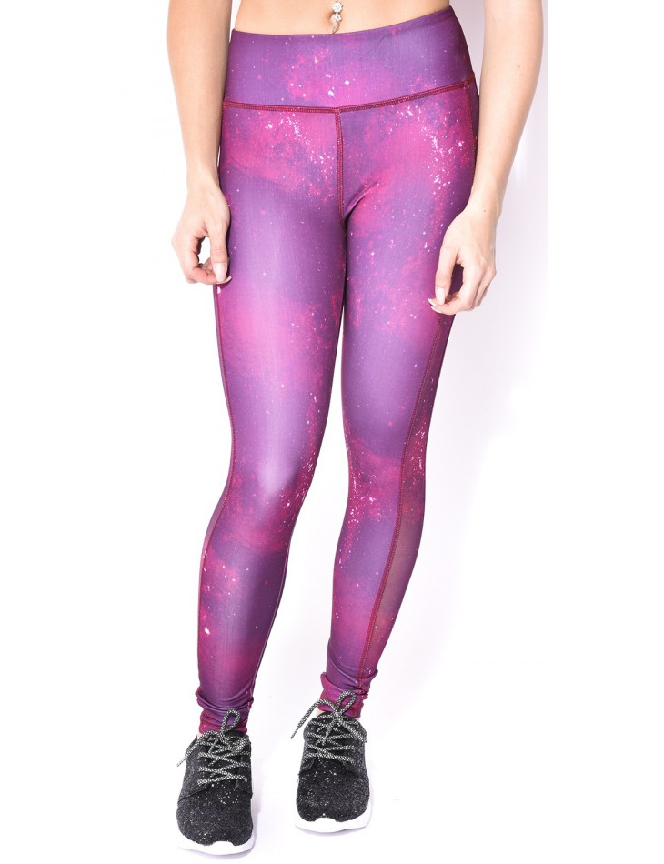 Sports Leggings with Galaxy Pattern