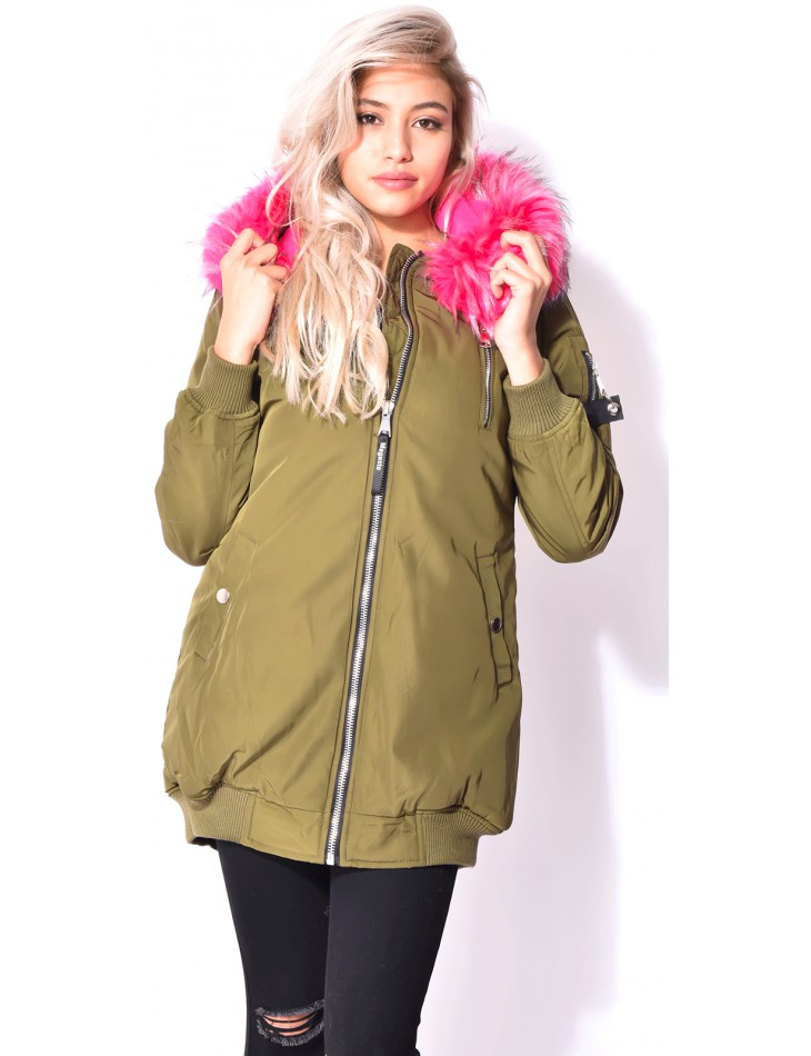 Long Bomber Jacket with Fur Hood